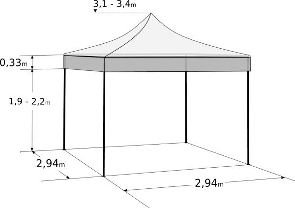Rozkladací stan 3x3m - hliníkový hexagon profi: Rozmery a parametre