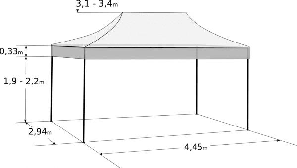 Rozkladací stan 3x4,5m - Profi hliníkový hexagon: Rozmery a parametre