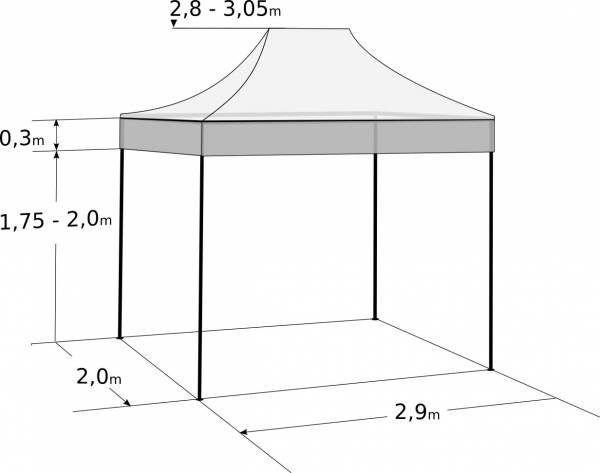 Rýchlorozkladací nožnicový stan 2x3m - oceľový: Rozmery a parametre