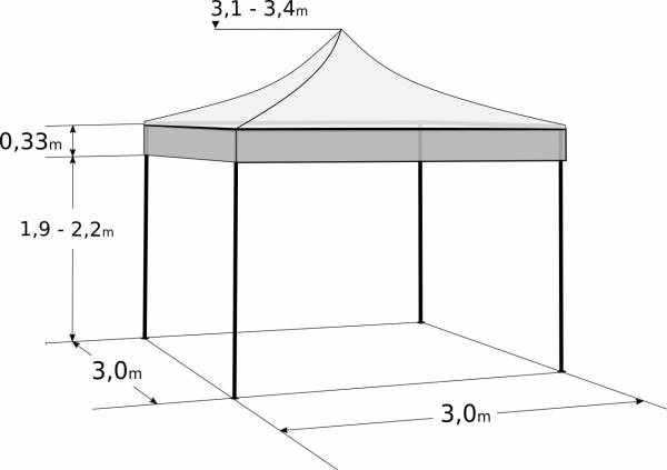 Rozkladací stan 3x3m - hliníkový hexagon profi