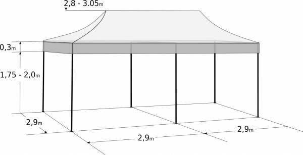 Rýchlorozkladací nožnicový stan 3x6m – oceľový: Rozmery a parametre