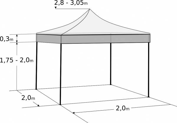 Rýchlorozkladací nožnicový stan 2x2m – oceľový: Rozmery a parametre