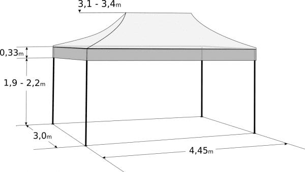 Rozkladací stan 3x4,5m - hliníkový hexagon