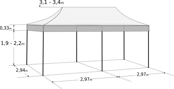 Rozkladací stan 3x6m- Profi hliníkový hexagon: Rozmery a parametre