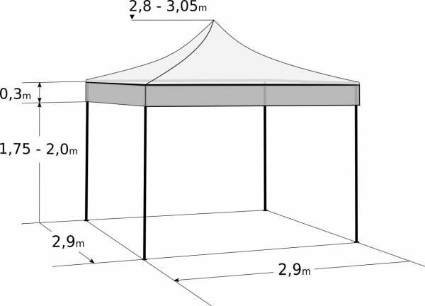Rýchlorozkladací nožnicový stan 3x3m – oceľový: Rozmery a parametre